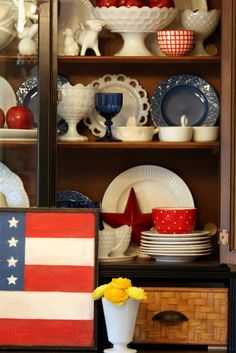 Sweet Something Designs: Red, White & Blue...add a few touches to your existing china cupboard. Milk Glass for the 4th of July.