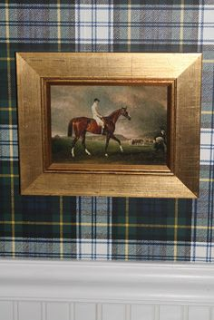 The Polohouse: Ralph Lauren plaid wallpaper in the bathroom with an equestrian . - The Polohouse: Ralph Lauren plaid wallpaper in the bathroom with an equestrian painting - Equestrian Decor, Equestrian Style, Equestrian Fashion, Tartan Wallpaper, Wainscoting Bedroom, Wood Wainscoting, Wood Paneling, English Country Decor, Gingham