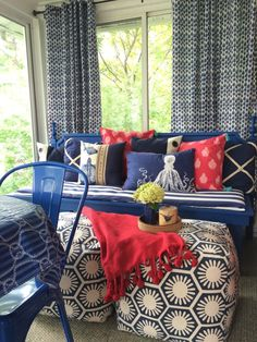 Patterns, Paint, Poufs and Porches:  Summer may be coming to a close but there's still time to make your screened porch a welcoming place to gather. A DIY headboard turned daybed gets a dose of pattern play with fun colorful accent pillows, cushions and graphic poufs from HomeGoods. Sponsored Happy by Design Post.