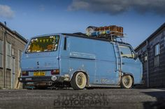 'Down & Dirty T25' rolling shot, I love this van..  Full air ride, banded steels and awesome paint..