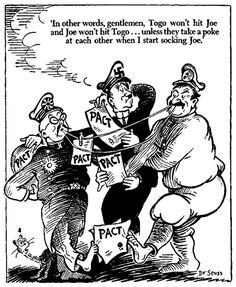 Most know Theador Geisel a.k.a Dr. Seuss for his famous children's books.  However, he was also an established political cartoonist during World War II.  In this political cartoon, he mocks the alliance between Germany, Russia, and Japan.http://goodcomics.comicbookresources.com/2008/10/05/stars-of-political-cartooning-theodor-geisel/