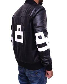 Mens 8-Ball Bomber Supreme Leather Jacket