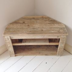 Handmade Rustic Corner Table/Tv Stand With Shelf. Reclaimed and Recycled Wood Handmade Rustic Corner Table/Tv Stand With by RemyDicksonDesigns