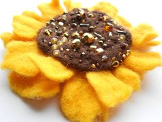 Wool Felted Yellow Sunflower Pin Brown Beaded Flower by MaijaFeja, $30.00