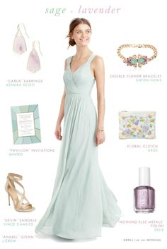 Sage green and lavender bridesmaid style Lavender Bridesmaid, Blue Bridesmaid Dresses, Bridesmaids, Wedding Dresses, Beach Wedding Guests, Beach Wedding Attire, Sage Green Dress, Green Gown, Sage Wedding