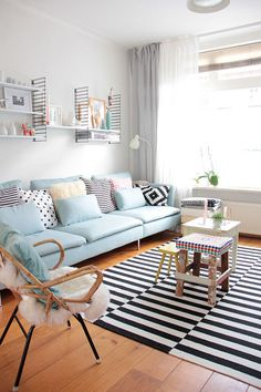 Pastel interior of home - home design, living room, lounge Home Living Room, Living Room Designs, Living Room Decor, Pastel Living Room, Pastel Bedroom, Living Area, Retro Living Rooms, Bedroom Designs, Kitchen Living