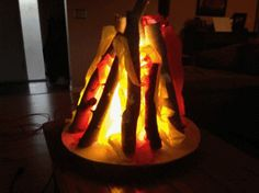 Imitation / Fake Campfire for those indoor camp outs.  Made from 1/2-plywood, Lamp shade, logs, and Bright white 25w CFL (800+ Lumens).