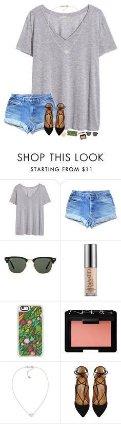 """""""school probs over heeereeeee"""" by hopemarlee ❤ liked on Polyvore featuring H&M, Ray-Ban, Urban Decay, Casetify, NARS Cosmetics, Carolee and Aquazzura"""