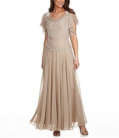 Jkara Plus FauxPearl Beaded Gown #Dillards ....(can I find this in regular size?)