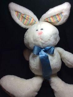 "Fun Farm Dakin Vintage White Bunny Rabbit 1985 Blue Bow Stripes Plush 27"" #Dakin"