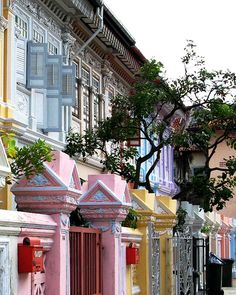 Traditional houses in Singapore. Built by the Peranakan community, these houses employ elements of traditional Chinese, Malay and western architecture. The houses present a narrow face to the road - a little plaque on a nearby building states that this was because the property tax applied to such buildings in Malacca were based on the size of frontage. So the frontage shrank and the houses became very deep instead. This architectural practice then spread to Singapore and Penang.