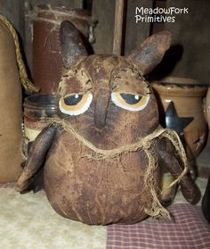 Extreme Primitive Owl Shelf Sitter. From a pattern by Flower Patch Designs. Available for purchase through orders by Meadow Fork Primitives, 2013