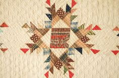AMAZING Vintage 1850s Feathered Stars Antique Quilt ~EARLY FABRICS & SMALL SCALE Old Quilts, Antique Quilts, Star Quilts, Scrappy Quilts, Vintage Quilts, Quilt Blocks, Textile Patterns, Quilt Patterns, Textiles