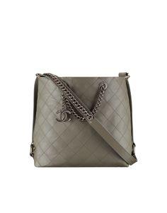 Hobo handbag, calfskin & ruthenium-tone metal-gray - CHANEL