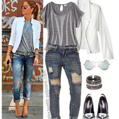 Plus Size Outfit Ideen - Plus Size Boyfriend Jeans , Plus Size Boyfriend Jeans, Boyfriend Jeans Outfit, Outfit Jeans, Curvy Fashion, Look Fashion, Autumn Fashion, Womens Fashion, Fashion Ideas, Jeans Fashion