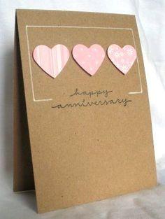 handmade love/Valentine … Clean and Simple … one layer … kraft . Cricut Anniversary Card, Homemade Anniversary Cards, Anniversary Cards For Couple, Wedding Anniversary Cards, Wedding Cards, Anniversary Quotes, Happy Anniversary, Valentines Day Cards Handmade, Greeting Cards Handmade