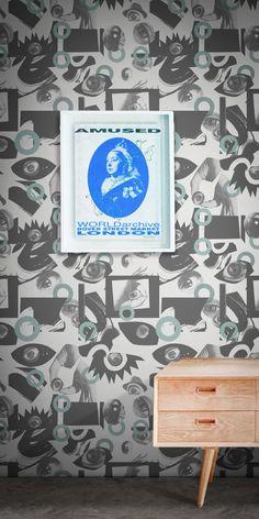 Walls Have Eyes Wallpaper by George Douglas Eyes Wallpaper, Pop Art Wallpaper, Designer Wallpaper, Neutral Color Scheme, Color Schemes, Eye Images, Elle Decor, Home Art, Walls
