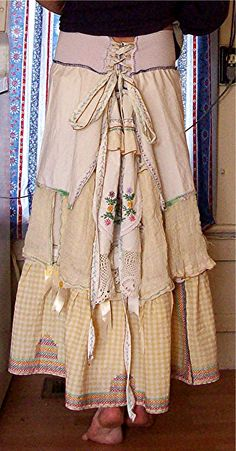 Serendipity ~ Vintage Linens Corset Back Tattered Poorgirl's Skirt ~ AuraGaia