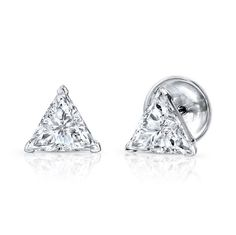 Trillion Diamond Stud Earrings - EARRINGS - JEWELRY
