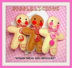 Felt gingerbread men brooch