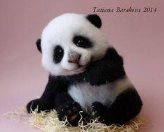 Needle felted panda bear by Tatiana Barakova.