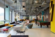 The Student Hotel Amsterdam West. Lobby and game area, photo © Kasia Gatkowska x …,staat.