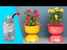 DIY Fikir, Küçük Bir Bahçe İçin Plastik Şişeleri Güzel Bir Saksıya Dönüştürmek - YouTube Plastic Bottle Planter, Plastic Bottle Flowers, Plastic Bottle Crafts, Recycle Plastic Bottles, Fun Diy Crafts, Diy Arts And Crafts, Recycled Crafts, Diy Home Cleaning, Bottle Garden