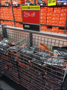 If your store is wall-to-wall, floor-to-ceiling footwear, follow Nikes® lead and Bulk Bin enough socks to cover the potential cross-sell need. After all, fresh sneakers just might benefit from fres...