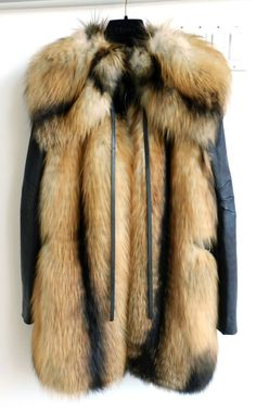 J. Mendel Red Fox Fur Vest / Coat with Leather Sleeves | From a collection of rare vintage jackets at http://www.1stdibs.com/fashion/clothing/jackets/
