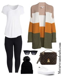 long sweater ( Cardigan) to wear with leggings. I love a casual and comfy fall outfit. This outfit features black leggings,a white t shirt, and multicolored long cardigan