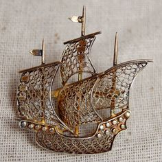 Antique Silver Gold Wash Filigree Ship Brooch