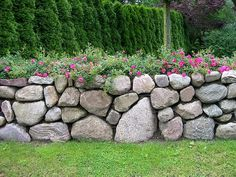 Natural stone wall – landscaping north - All About Outdoor, Landscape Design, Natural Stone Wall, Fall Container Gardens, Landscaping With Rocks, Garden Inspiration, Dry Stone, Landscape, Rock Wall Landscape