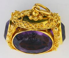 18K Yellow Gold & Amethyst Watch Fob..