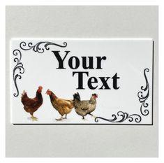 Chicken Hen Coop Your Text Custom Wording Sign | The Renmy Store Chicken Coop Signs, Local Hardware Store, Tin Signs, Hanging Signs, Text You, Im Not Perfect, Super Easy, Tape, Corner