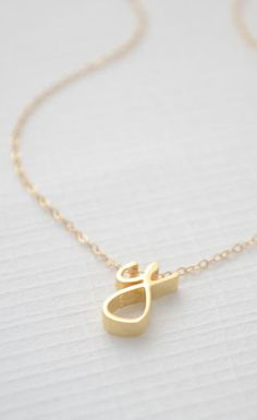 Gold Cursive Initial Necklace - Cursive initial necklace gold