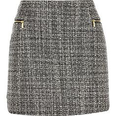 Black bouclé zip side pelmet skirt £30.00