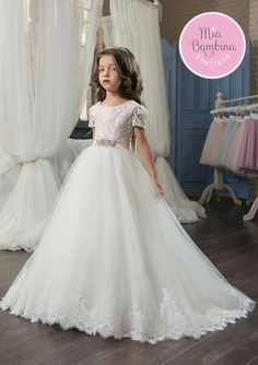 Beautiful girls dress 2016 kids wedding dresses with cap sleeves everyone will love to see the eugene flower girl dress on your little princess this short sleeved ball gown with scoop neckline bodice and light flowing junglespirit Images