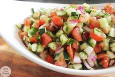 Easy and delicious Israeli Salad from Lexi's Clean Kitchen! Clean Eating Salads, Healthy Eating Recipes, Veggie Recipes, Whole Food Recipes, Salad Recipes, Gluten Free Recipes, Vegetarian Recipes, Detox Recipes, Main Dish Salads