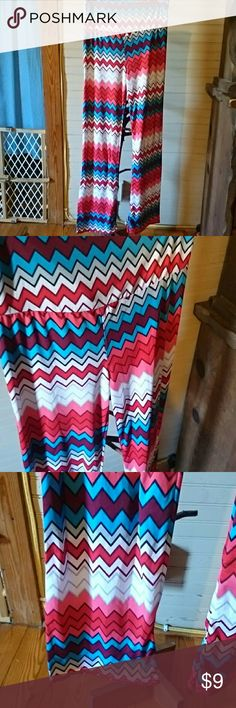 Red white and blue Palazzo Super cute..no material tag feels slinky..price will reflect for waist approximately 13 length approximately 39 1/2  this seems to run small but check measurements Pants