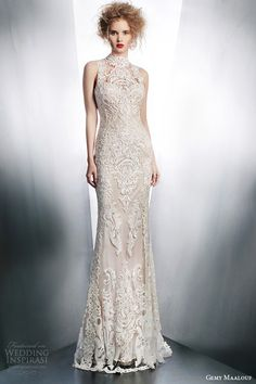 gemy maalouf bridal winter 2015 sleeveless lace wedding dress high neck illusion front