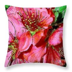 """Fruit Blossoms Throw Pillow 14"""" x 14"""" by Michele Avanti, available in various sizes also in cards, prints & canvas."""