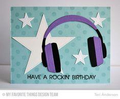 Keep on Rockin', Headphones Die-namics, Polka Dot Background, Pierced Star STAX Die-namics - Teri Anderson #mftstamps