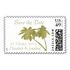 Vintage Palm Tree Tropical Save the Date custom US postage stamps for beach wedding