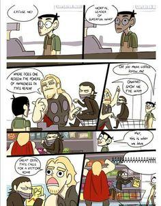 I love how Loki is sitting in the cart. Thor and Loki go shopping Marvel Funny, Marvel Memes, Marvel Dc, Marvel Comics, Funny Comics, Loki Thor, Tom Hiddleston Loki, X Men, The Villain