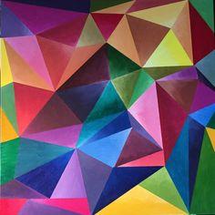 Peinture contemporaine abstraite multicolore. La peinture est géométrique avec des bleus, verts, jaunes, oranges, violets et mélanges de ces couleurs représentés dans les peintures acryliques sur toile. Le travail se marie magnifiquement avec décor de la plupart en raison de l'inclusion de toutes ces couleurs.  Cette liste est pour un original peinture acrylique 30 « x 30 » en dimension titre : cristal couleurs  Il s'agit d'un original acrylique sur toile avec les accessoires de fil…