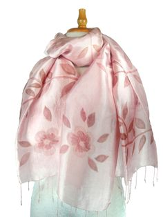 Hand Painted Silk Scarf in Pink Leaves