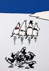 Moomins skating -  Winter Moomin postcard