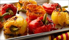 The flavor achieved by roasting your own peppers is worth the effort. Use in salads, sandwiches, omelets, to top grilled meats, or serve with goat cheese and crostini as an appetizer. You may just want to do a double batch! Sandwiches, Good Food, Yummy Food, Roasted Peppers, Grilled Meat, What To Cook, Four, Orange, Yellow