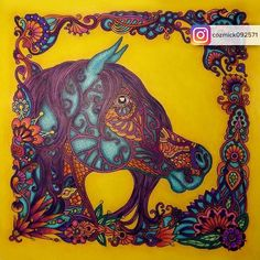 Colored By Cozmick092571 Drawn Me NEW Coloring Book For Adults Enchanted Horses Enchantedhorses Olyagoloveshkina