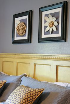 make a headboard from an old door and add crown molding for trim - love the distressed paint on this DIY headboard!